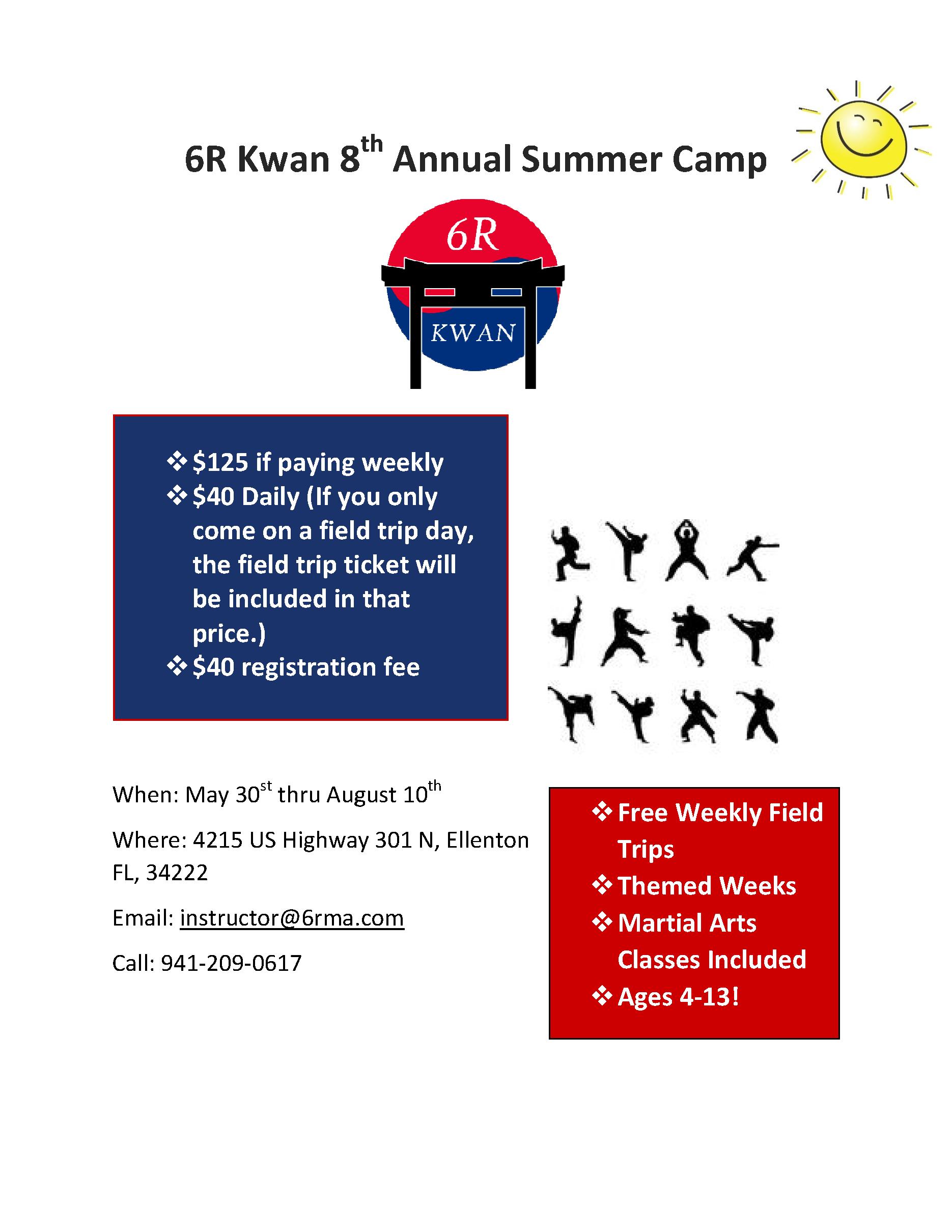 Summer Camp 18 6R Kwan Martial Arts, Ellenton, Parrish, Palmetto Florida